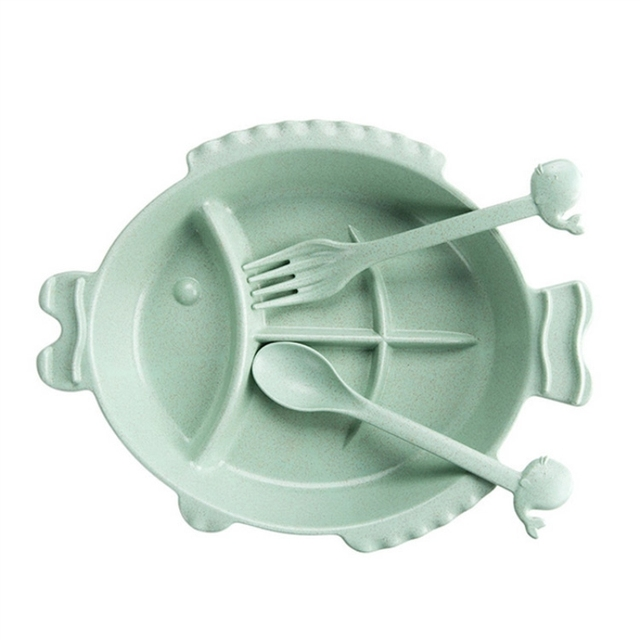 Wheat Straw Fish Shaped Bowl with Fork and Spoon 5