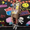 2016 rushed paño tops tumblr invierno tailandia nueva marea marca historieta impresa con capucha t de la correa del remache hip hop camisetas de las mujeres