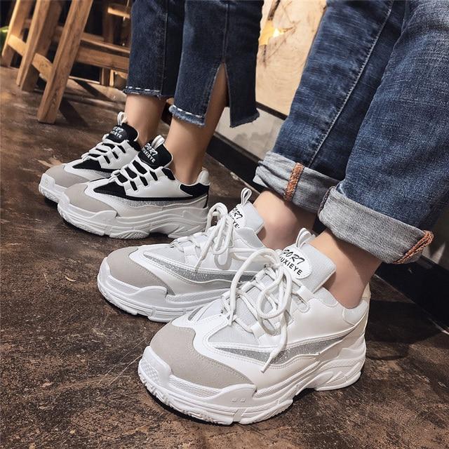 Большой размер 43, повседневная обувь, женская осенняя удобная обувь на высокой платформе, сетчатая обувь на плоской подошве, женские кроссовки на платформе, chaussure 9h31