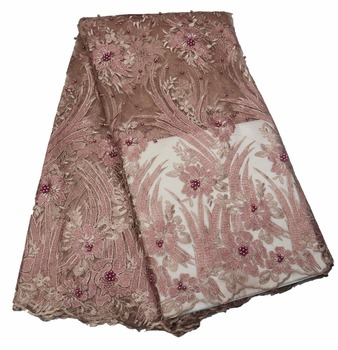 New design and high quality  Nigerian Lace Fabric, 3D Flower French Net Lace, High Quality Swiss Lace Fabric P455-1