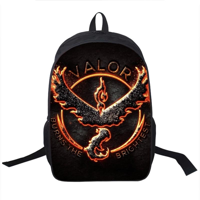 Cartooon Pokemon Go Team Mystic Valor Instinct Backpack Teens Kids Boys Girls Pikachu School Bags Womens Mens Laptop Backpacks