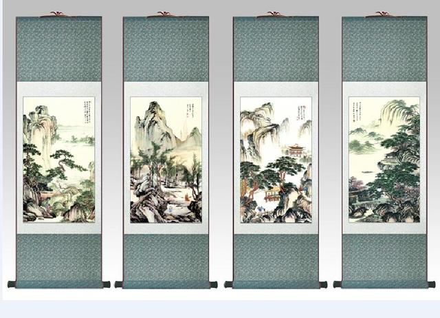 4pc lot tangbohu traditional people painting chinese scroll painting