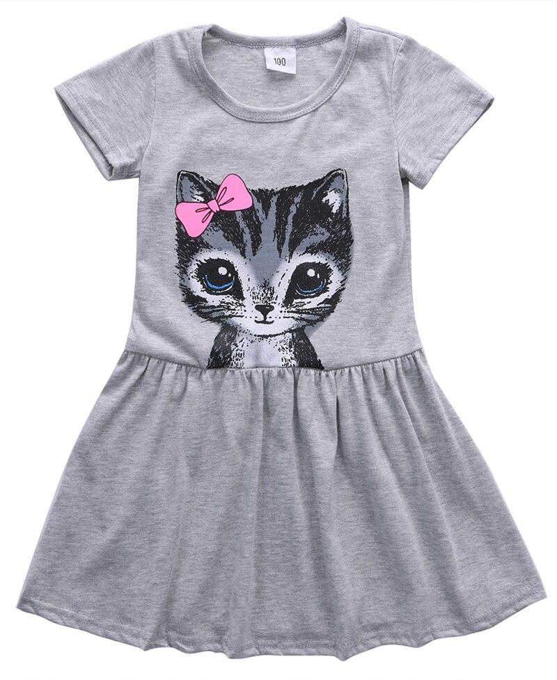 Hot Sale New 2018 Summer Girl Dress Cat Print Grey Baby Girl Dress Children Clothing Children Dress 0Kids Dresses 90-130cm