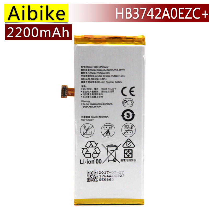Aibike New original mobile phone battery HB3742A0EZC+ For Huawei Ascend P8 Lite Replacement Batteries 2200mAh rechargeable