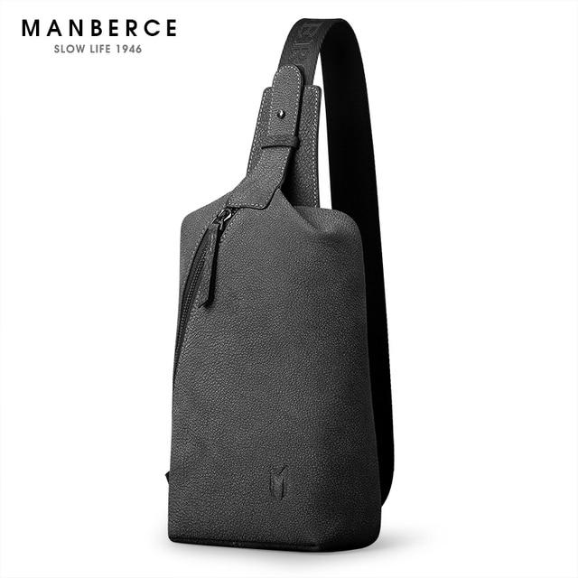 Manberce Brand Men Messenger Bag S Beach Travel Casual Riding Multifunctional Chest Pack Cowhide Shoulder