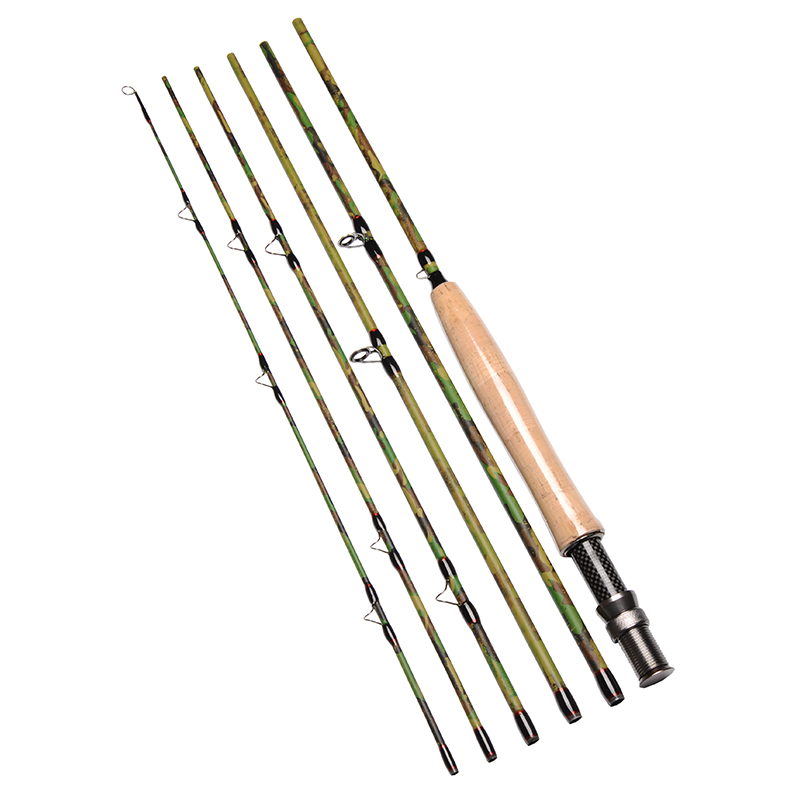 mikado purple rain ultelefloat 4405 15 20 гр carbon im 9 2.7M/9FT 6pcs 5/6 Fly Fishing Rod IM7 Carbon Travel Fly Rod Camouflage Design 119g/4.2oz Fly Fishing Pole w/ A-grade Cork Handle