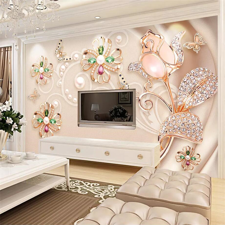 Decoration 3d Murale Us 9 3 48 Off Beibehang Custom Portrait Mural Wallpaper 3d Luxury Modern Jewelry Gemstones Background Wall Home Decoration 3d Wallpaper Mural In