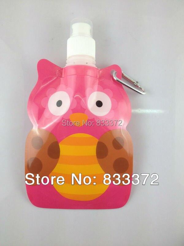 FDA/LFGB Утверждено 300 мл модный горячий продавать животных (сова) форма дети складной мешок воды