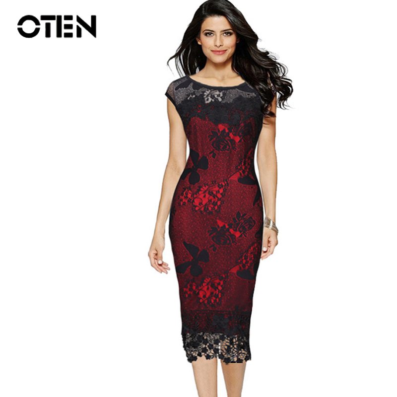 OTEN Women Party <font><b>Sexy</b></font> Crochet Butterfly Lace Party Bodycon Evening Mother of Bride Special Occasion <font><b>Dress</b></font> Elegant <font><b>club</b></font> <font><b>wear</b></font> robe image
