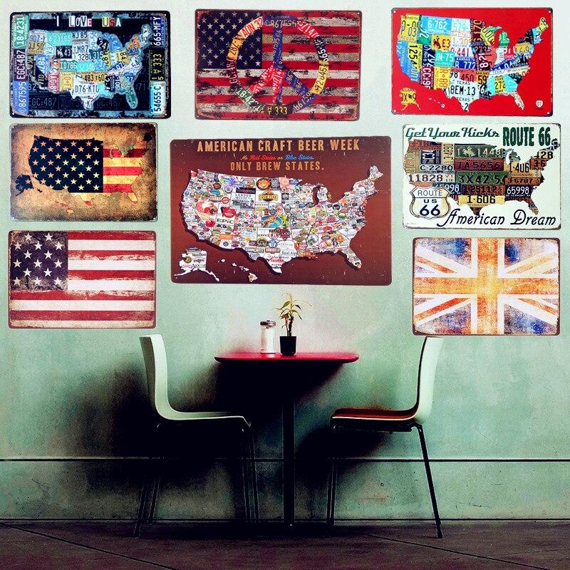 placa placas de lata do metal do vintage assina a arte da parede mapa da bandeira para route pintura de parede pub bar decora