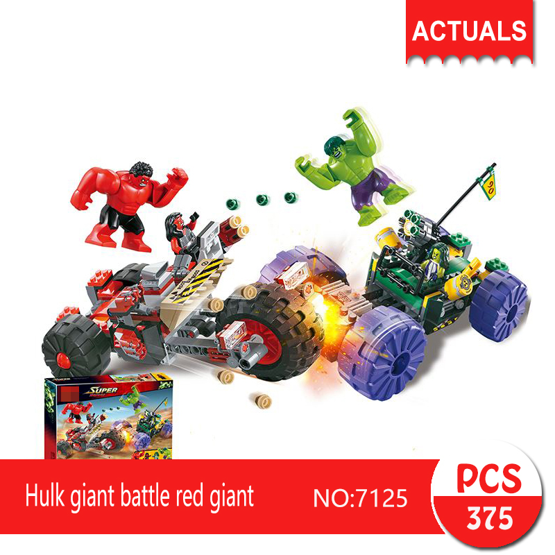 Decool 7125 375Pcs Super heroes Series Hulk giant battle red giant  Building Blocks Bricks Toys For Children decool 7111 2113pcs super heroes series
