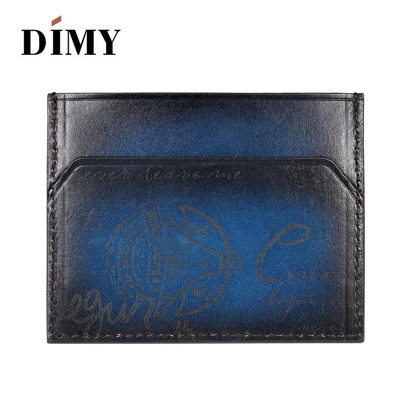 2018 nouveau porte-monnaie fait main pour hommes porte-monnaie en cuir de vachette identification professionnelle porte-carte de crédit livre étui lettre patine couleur DM4181 - 2