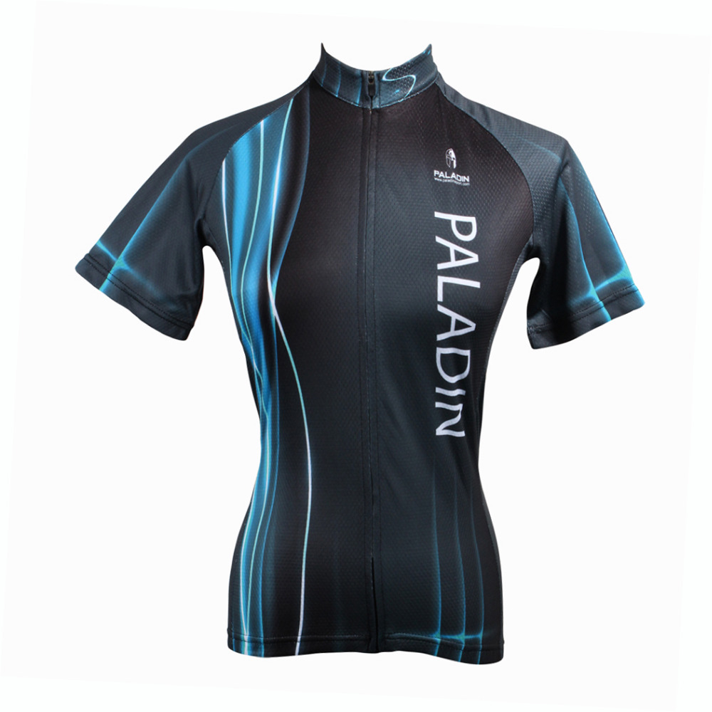 2016 New Women Blue Pulsed Waves top Sleeve Cycling Jersey Black top bike Mujer Breathable Cycling Clothes Size XS-6XL ILPALADIN 2016 new men s cycling jerseys top sleeve blue and white waves bicycle shirt white bike top breathable cycling top ilpaladin