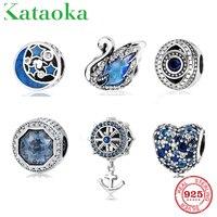 925 пробы серебро голубые бусины Лебедь якорь сглаза сердце и круглой формы CZ бисера Fit оригинальный браслет Pandora украшения