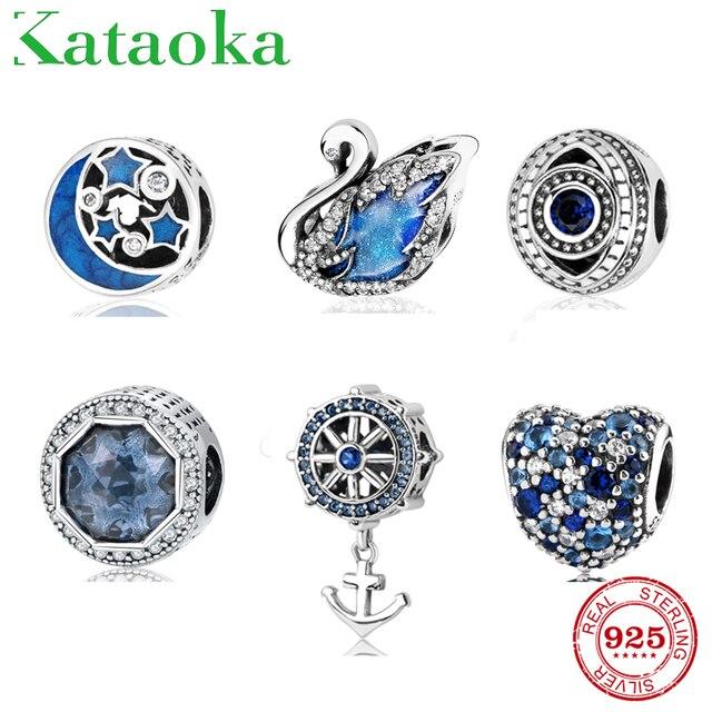 925 стерлингового серебра голубые шармы бусины Лебедь Якорь Сердце и круглой формы циркониевые бусы подходят оригинальный браслет Pandora ювелирные изделия