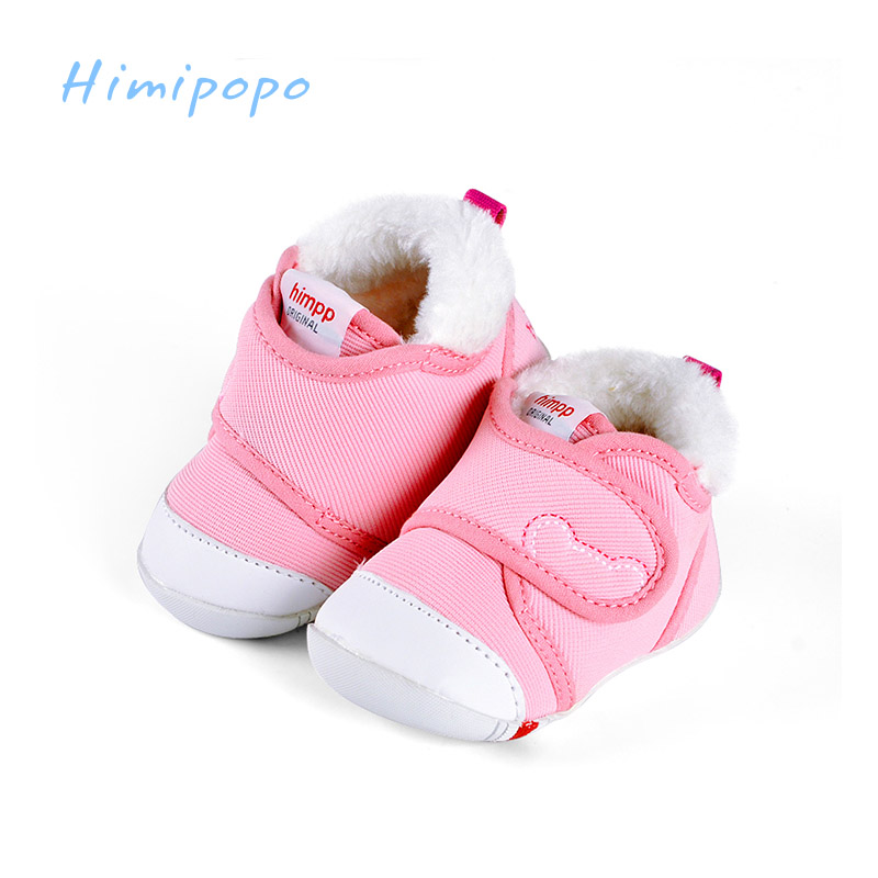 HIMIPOPO Winter Warm Baby Toddler Shoes Soft Bottom Non-slip Bow Prewalker Function Shoes Newborn Baby Boys Footwear soft soled walkers baby soft bottom anti slip elastic band cotton cute sole toddler shoes quality baby shoes 70a1077