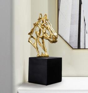 Golden Horse Head Figurine