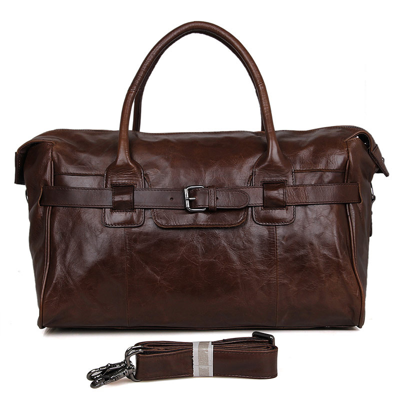 Cow leather large capacity men casual solid travel duffle high quality