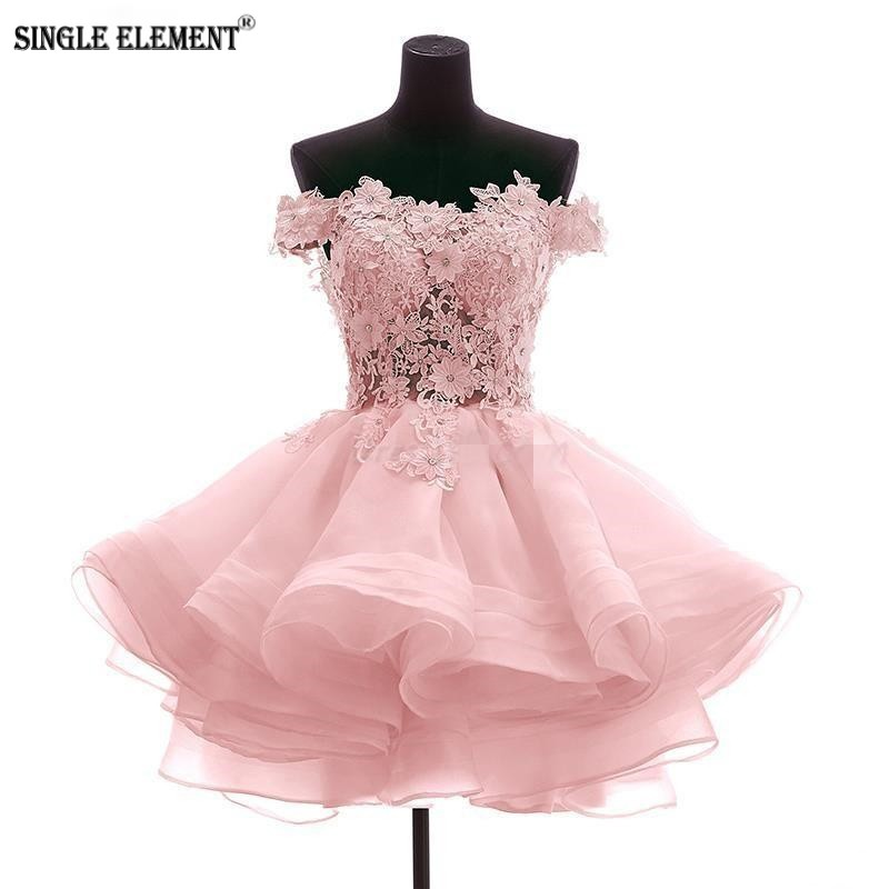 SINGLE ELEMENT Short Prom Dress Off The Shoulder Ball Gown Homecoming Dresses For Juniors Appliques in Prom Dresses from Weddings Events