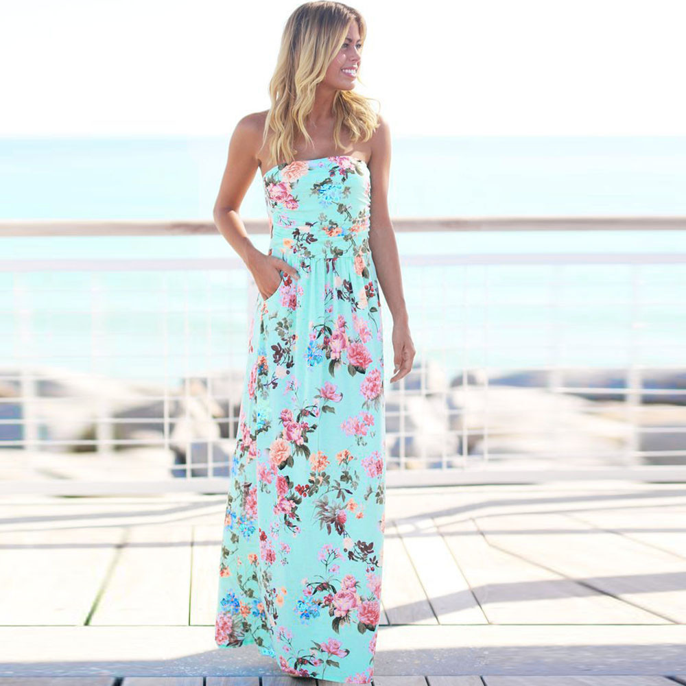 699ebbee3ab97 US $10.39 21% OFF|Womens Bandeau Holiday Long Dress Ladies Summer Floral  Maxi Dress ladies summer dresses casual robe fleurs dames jurkjes preppy-in  ...