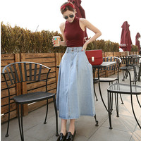 New Fashion Summer Autumn Women Slim Long Denim Skirt A Line High Waist Empire Solid Women