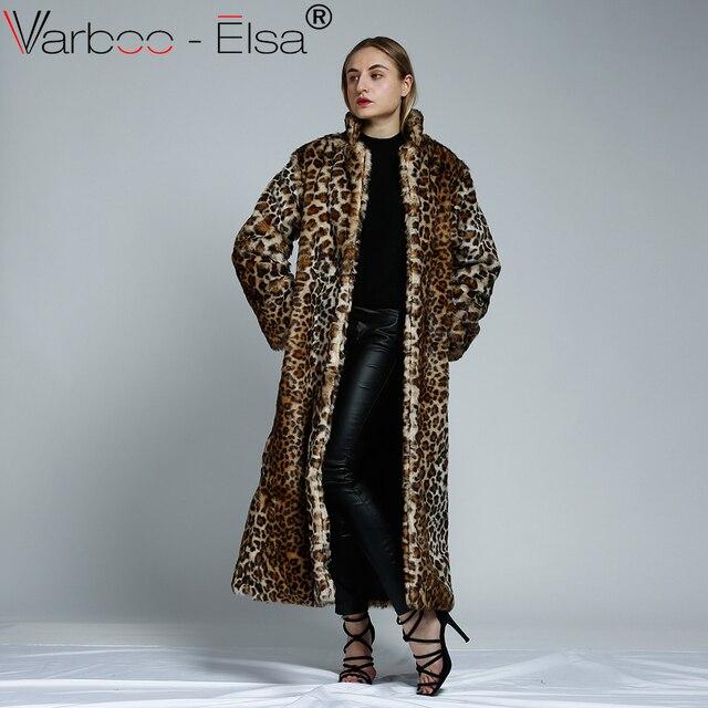 56c8ab6480192 2017 hiver chaud femmes de fourrure de Léopard manteau long femme long manteau  fourrure veste femmes