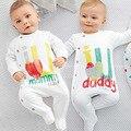 Outono de manga comprida Romper baby love mom pai modelos de explosão do comércio impressão macacão de bebê uma geração de gordura