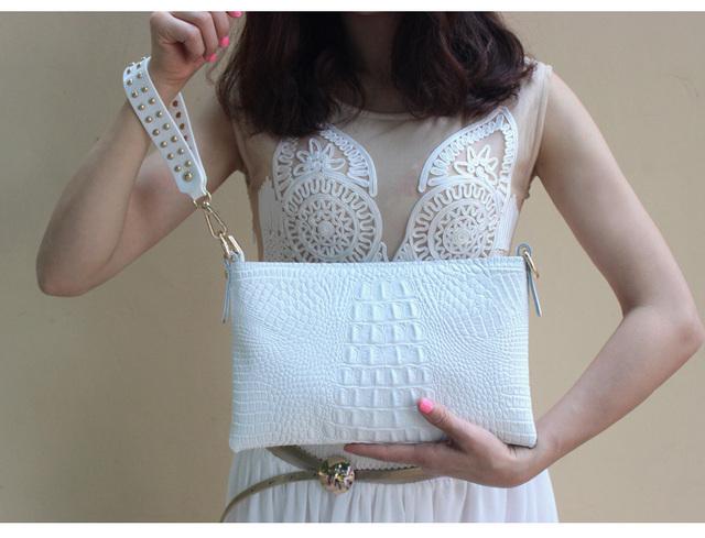 Envelope Evening Clutch Bags White Crocodile Pattern Genuine Leather Women Shoulder Bags Crossbody Purses and Handbag Lady