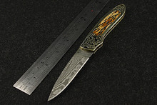 2016 Sale New Navajas Damascus Guest Folding Knife Outdoor Portable Field Army High Hardness Wilderness Survival Small Knives