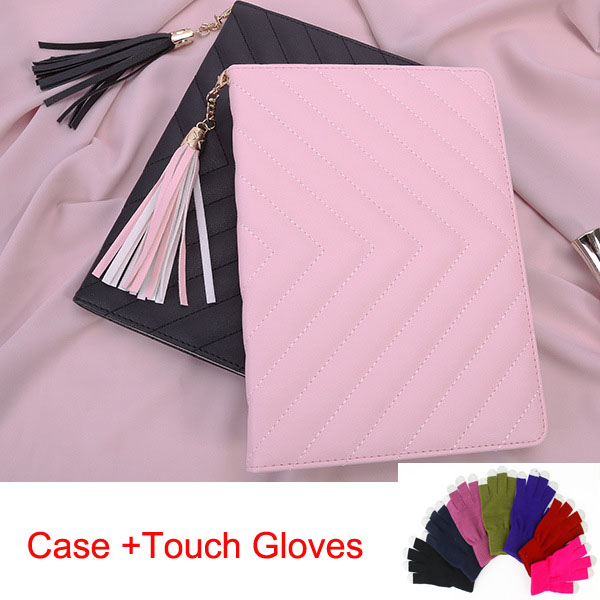 Hot selling folio case for Ipad mini1 mini2 mini3 smart cover with tassel pandent,Pink black+Screen touch gloves + Free Shipping рюкзак case logic 17 3 prevailer black prev217blk mid