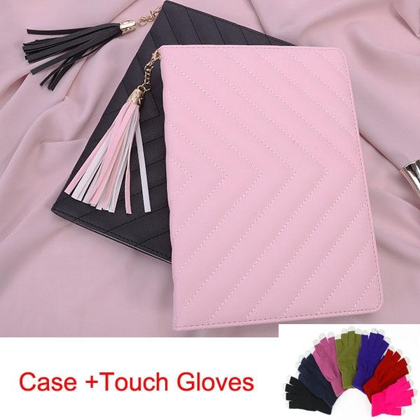 все цены на Hot selling folio case for Ipad mini1 mini2 mini3 smart cover with tassel pandent,Pink black+Screen touch gloves + Free Shipping онлайн