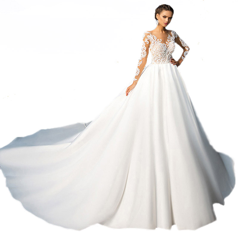 2018 Newest Lace Satin Wedding Dress Cathedral Royal Train