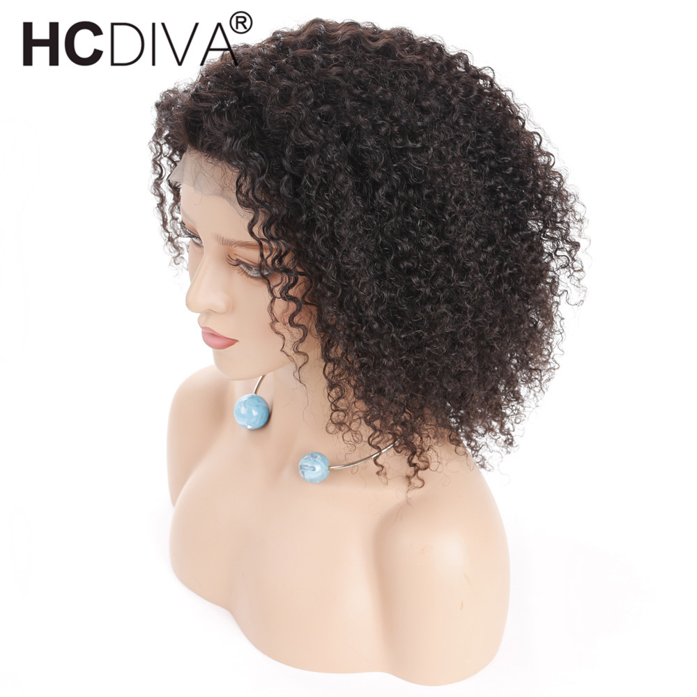 Afro Kinky Curly Lace Front Human Hair Wig With Baby Hair Mongolian Remy Short Lace Frontal Human Hair Wig Bleached Knots HCDIVA