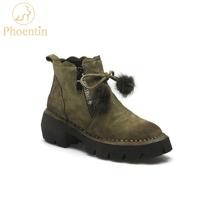 Phoentin genuine leather ankle boots platform for women ruffles with fur ball lace decoration zipper flat