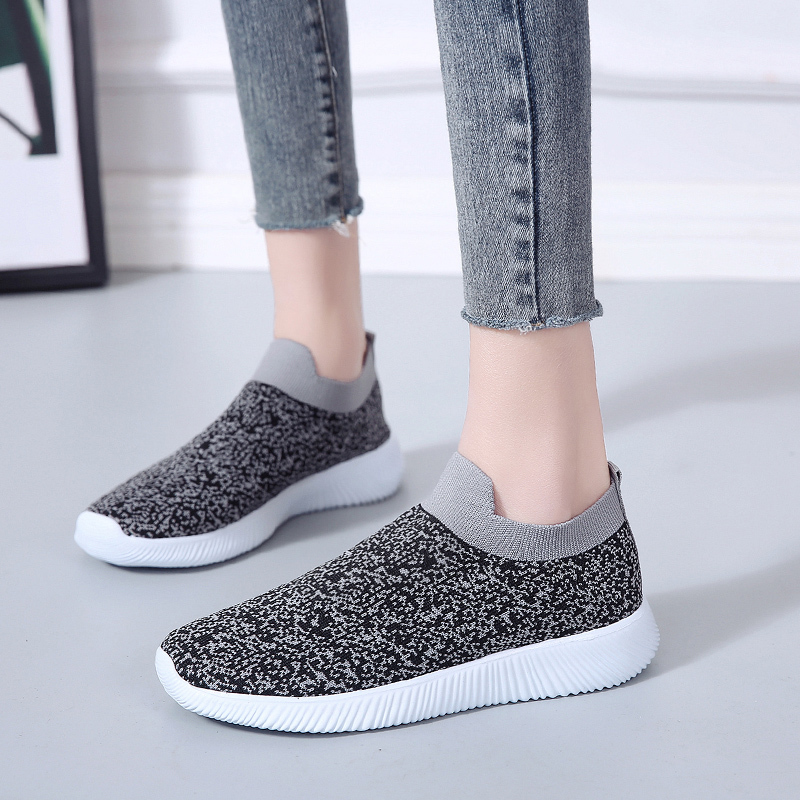 HTB1uPsRac vK1RkSmRyq6xwupXaY Rimocy plus size breathable air mesh sneakers women 2019 spring summer slip on platform knitting flats soft walking shoes woman