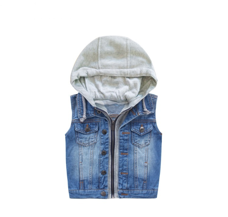 Children Vest Waistcoat Sleeveless Outerwear 2017 Autumn Spring Kids Jacket For Girls Boys Clothes Solid Cowboy Coat Winter Suit stylish v neck solid color oblique placket slimming sleeveless cotton blend waistcoat for men