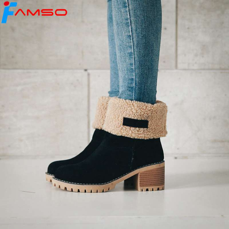 FAMSO 2017 New Shoes Women Boots Shoes thick Heels Mid-Calf Motorcycle Boots Shoes Winter Full Fur Warm Snow Boots Shoes Russia new fashion superstar brand winter shoes embroidery snow boots tassel women mid calf boots thick heel causal motorcycles boots