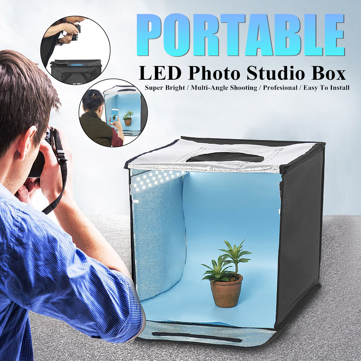 Collapsible Photography Tent + Light Absorbing Cloth Soft Cloth LED Light Bars 3 x Background Papers Super Bright Portable water absorbing oil absorbing cleaning cloth
