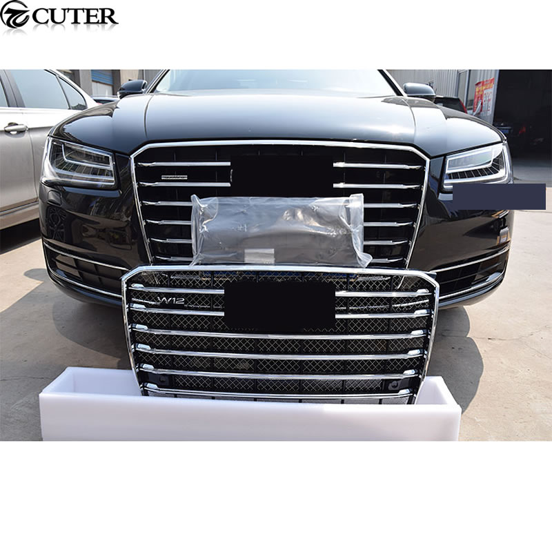 a8 w12 style racing grills abs chrome front mesh grille. Black Bedroom Furniture Sets. Home Design Ideas