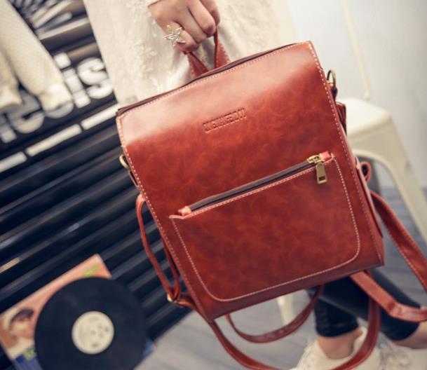 Hot Summer Brand Vintage Backpack Women Pu Leather Womens Zipper Backpack High Quality Softback With Bear