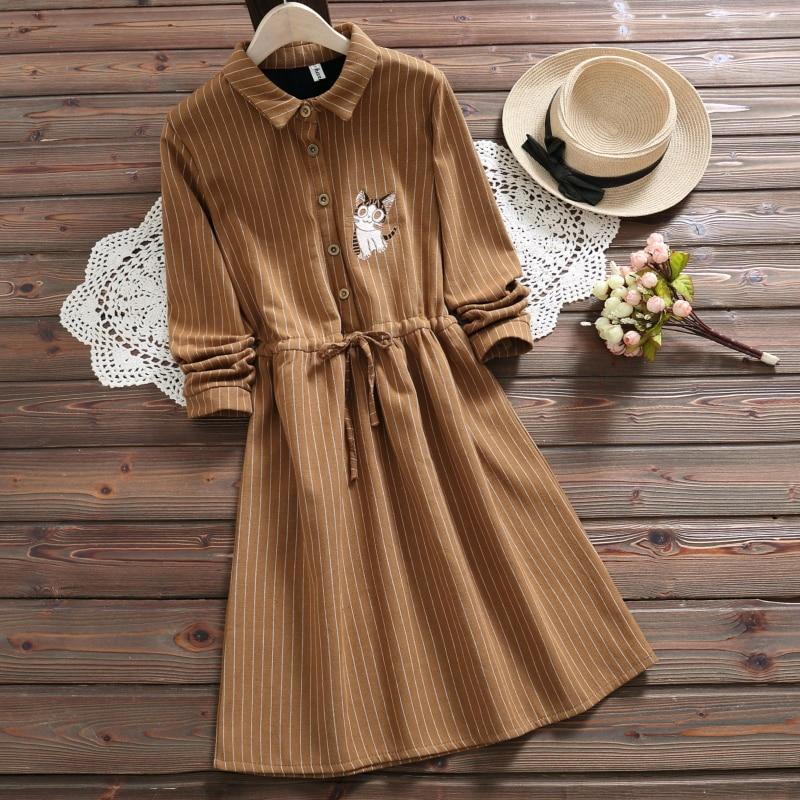 Winter Embroidered Cute Cat Dress 2019 New Fashion  Long Sleeve Velvet Thick Striped Kawaii Dress Mori Girl Vestidos