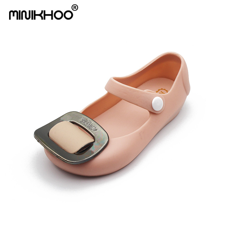 Mini Melissa Square Buckle Jelly Sandals Girl Shoes 2018 Summer Sandals Waterproof Rain Shoes Mini Melissa Sandals High Quality