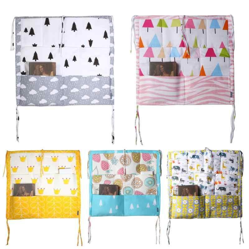60*50cm bolsa de almacenamiento colgante para cama de árbol de muselina, cuna de algodón para bebé, organizador de pañales de juguete, juego de cama para cuna