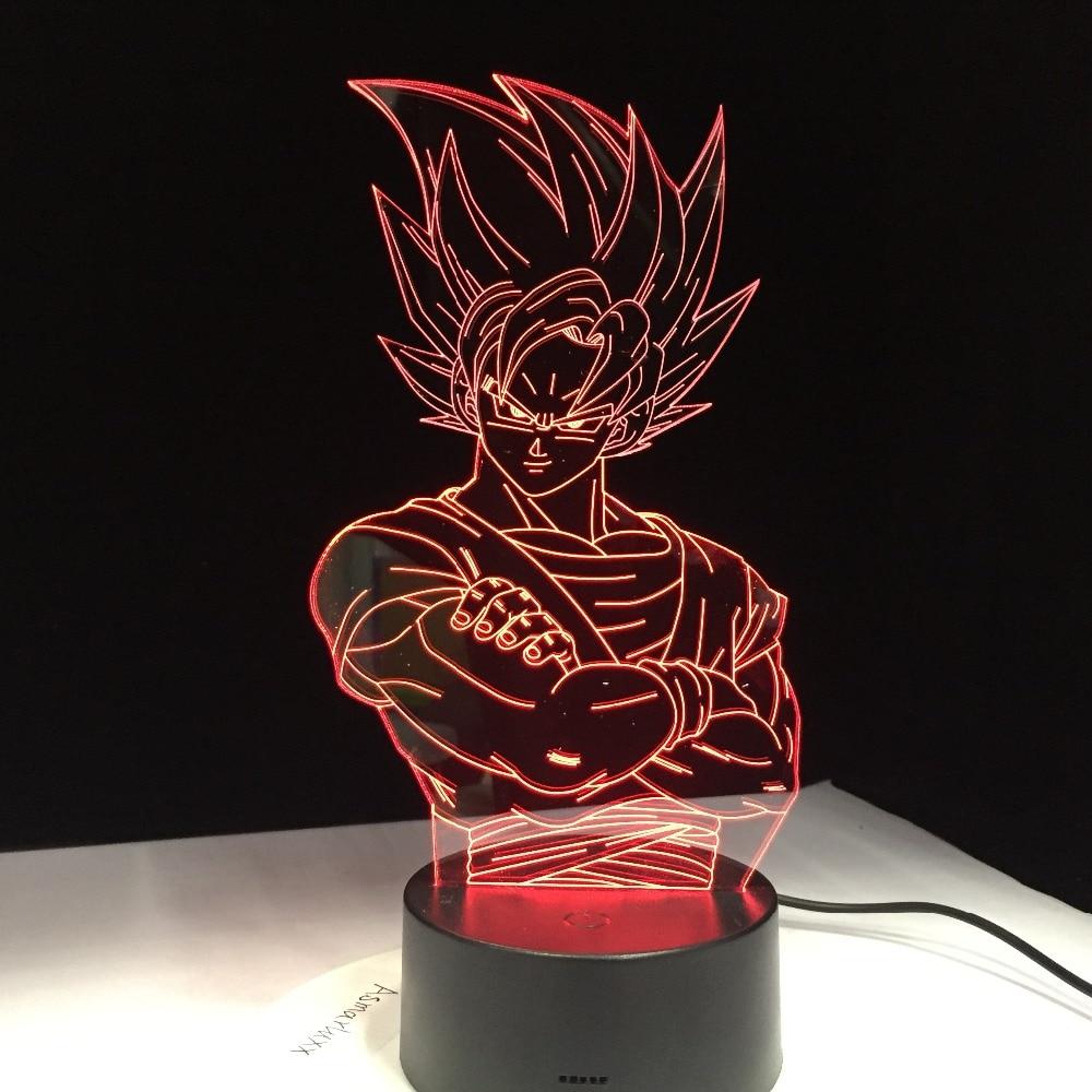 For Kids Dragon Ball Z Vegeta Super Saiyan Led Light Lamp Super Son Goku Led Table Desk Lamp  With Touch  Remote 3D LED Lamp