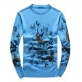 2016 Men's  new arrival fashion O-neck  bird printed keep warm high quality  95% woolen sweater,2 color,M,L.XL.XXL.