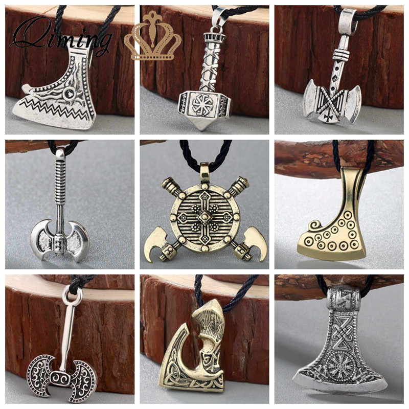 Thor Viking Axe Men's Necklace Women Silver Kolovrat Slavic Amulets Hammer of Thor Torque Statement Pendant Necklace Jewelry Man