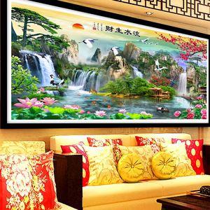Image 5 - QIANZEHUI الإبرة ، لتقوم بها بنفسك المناظر الطبيعية الخلابة غرفة المعيشة عبر الابره ، مجموعات ل طقم تطريز التطريز الكامل عبر خياطة