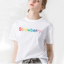 Harajuku Strawberry Letter Short Sleeve Tees Shirt Women Sumemr 2019 Korean Fashion T Tops Schoolgirl Streetwear