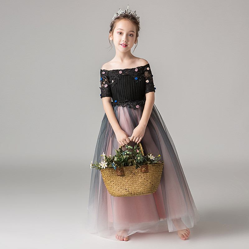 Teenage Girls Elegant Bridesmaid Formal Prom Gown Kids Girls Tulle Appliques Party Dress Children Gauze Princess Vestidos Q122
