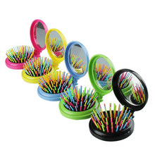 Anti-static Folding Mirror Comb Hair Brush Mini Airbag Massage Makeup Pro Styling Tool Round Travel Hair Brush with Mirror vintage style portable folding airbag massage comb with mirror